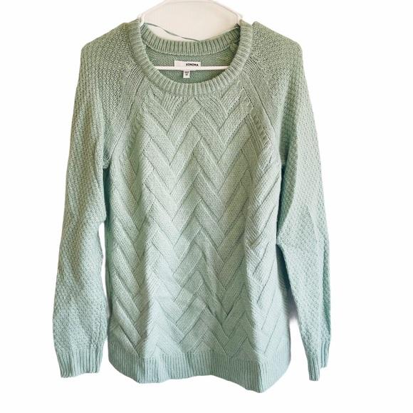 Sonoma Herringbone Sweater Chunky Knit Light Green